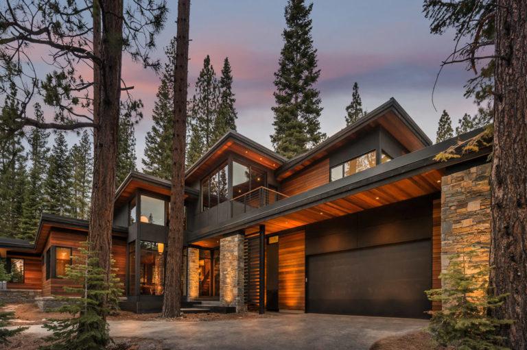 angle view of modern wood home