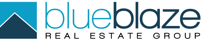 "logo on grey background with blue text saying ""blueblaze real estate group"""